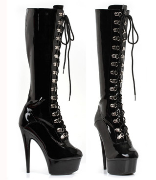 "609-Gina 6"" Laced-Up Knee High Boots 