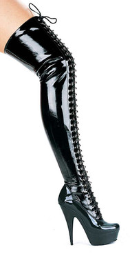 609-Olivia 6 Inch Black Thigh high boots by Ellie Shoes