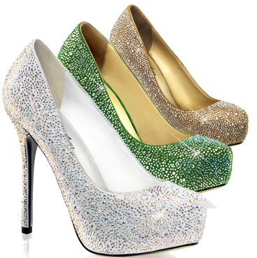 "Prestige-20, 5"" Wedding Pump with  iridescent rhinestones 