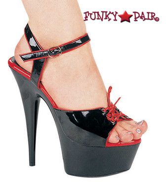609-Tanya, 6 Inch High Heel with 1.75 Inch Platform dance shoes Made by ELLIE Shoes Black/Red