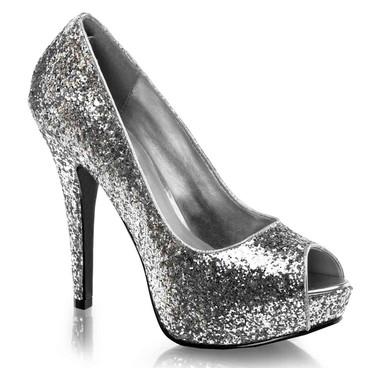 """Twinkle-18G, 5.25"""" Silver Glitter Peep Toe Pump by Funtasma"""