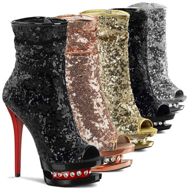 Blondie-R-1008SQ, 6 Inch Exotic Dancer Sequin Ankle Boots by Pleaser