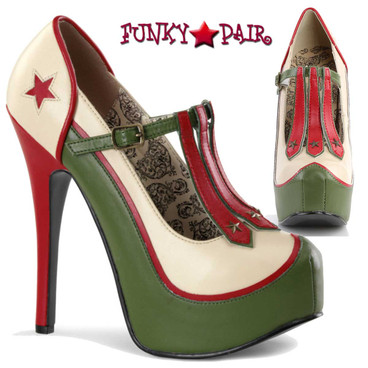 Teeze-43, Platform Pump with 3-Stars Military Theme | Bordello