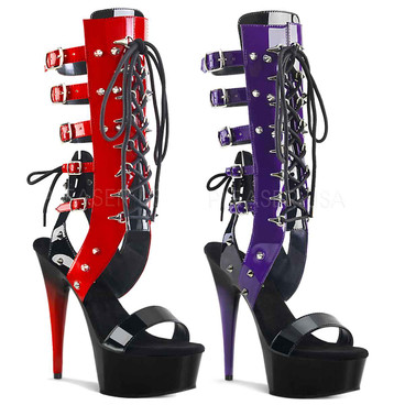 Pleaser | Delight-600-38, Platform Lace Up Mid Calf Sandal