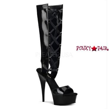 Pleaser | Delight-600-40, Platform Mid Calf Lace up Sandal