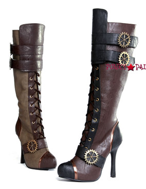 420-QUINLEY * 4 inch high heel steampunk boot with laces   Ellie shoes