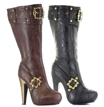 "426-AUBREY, 4"" Steampunk Knee High Boots With Buckles 