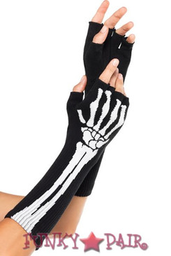 LA-2144, Skeleton Fingerless Gloves