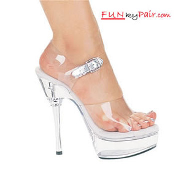 678-Brook, 6 Inch Clear Stillettos High Heels with 1.75 Inch Platform Shoes Made by ELLIE Shoes