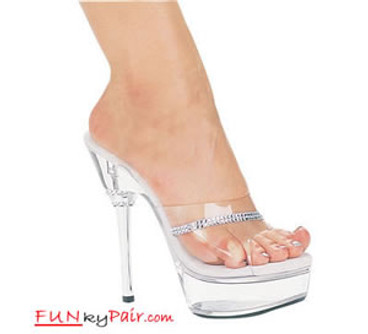 678-Jesse, 6 Inch High Heel with 1.75 Inch Platform Clear/Silver Dancer Heel w/Rhinestones Made by ELLIE Shoes