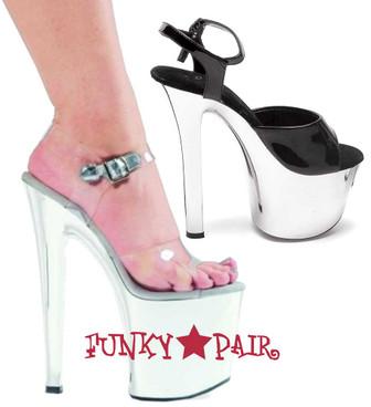 """Ellie Shoes   711-Chrome 7"""" Dancer Chrome Platform"""