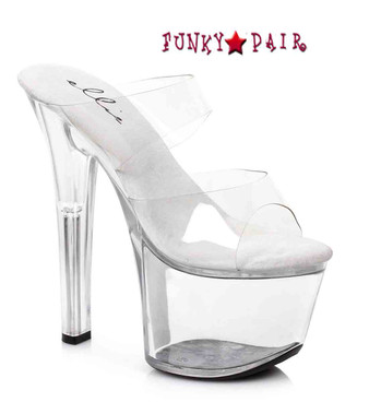 711-Coco, Color Clear 7 Inch High Heel with 2.75 Inch Platform Exotic Dancer Shoes Made By ELLIE Shoes