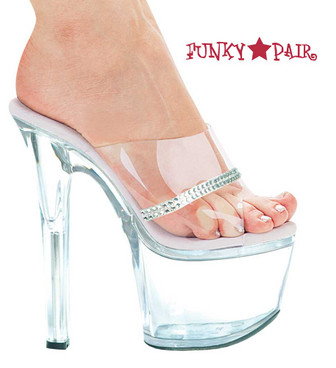 711-Jesse, 7 Inch Clear High-Heel with 2.75 Inch Platform Shoes Made By ELLIE Shoes