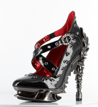 "Chrome 5"" Heel X-Strap Pump CROW by Hades Shoes"