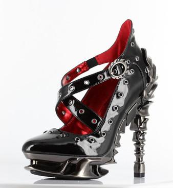 "Chrome 5"" Heel X-Strap Pump CROW by Hades Shoes"