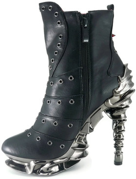 Raven Women's SteamPunk Spinal Heel Ankle Boots by Hades Shoes  Side Zipper view
