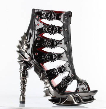 Hades   Crimson, 5 Inch Spinal High Heel Cage Ankle Boots