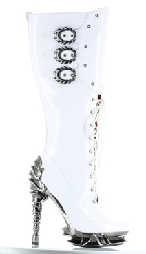 Hades Boots   Hyperion Spinal Heel Knee High Boot white front view