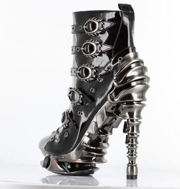 Machina, 5 Inch Spinal High Heel Ankle Boots Side Back view by Hades Shoes