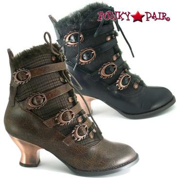 Hades   Women's SteamPunk Low Heel Victorian Ankle Boots  NEPHELE