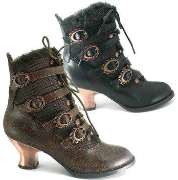 Nephele, Women's SteamPunk Low Heel Victorian Ankle Boots by Hades
