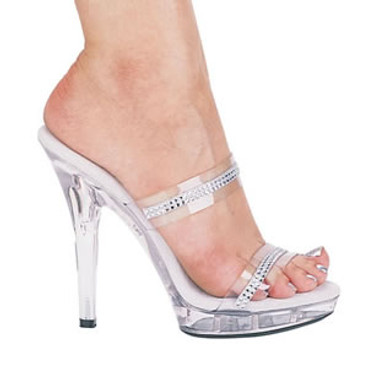M-Loretta, 5 inch High Heel with 3/4 Inch Platform Clear Shoes Made by ELLIE Shoes