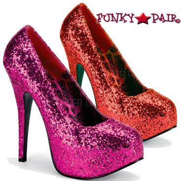 Pink Label | TEEZE-06GW, Wide Width Glitter Platform Pump Size 9-16