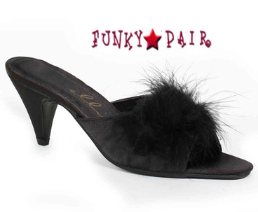 Phoebe, Color Black Marabou Slipper Made By ELLIE Shoes