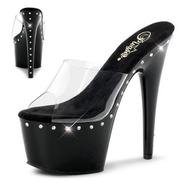 Pleaser Shoes | Adore-701LS * One Line Rhinestones on Platform and Heel Slide