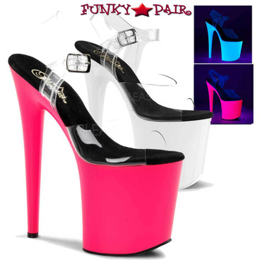 Pleaser Shoes | Flamingo-808UV, Ankle Strap UV Sandal