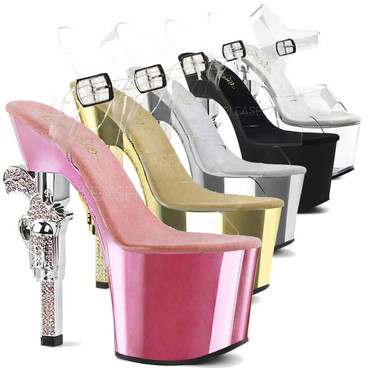 Pleaser Shoes | Revolver-708, Clear Rhinestones Gun Heel color available: baby pink, gold, silver, black, clear
