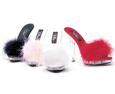 Ellie Shoes | Sasha, 5 Inch Platform Marabou Slipper