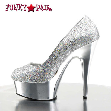 Delight-685, 6 inch stiletto heel with 1.75 inch platform Chrome Plain Pump side view