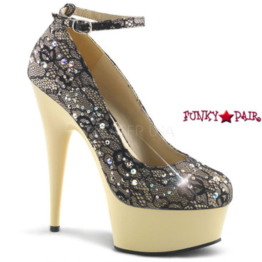 """Delight-686LC, 6"""" Ankle Strap lace Pump with Rhinestones by Pleaser"""