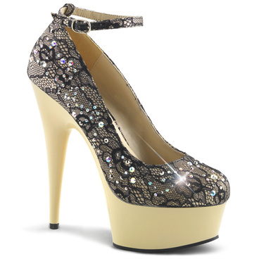 "Pleaser | Delight-686LC, 6"" Ankle Strap lace Pump with Rhinestones"