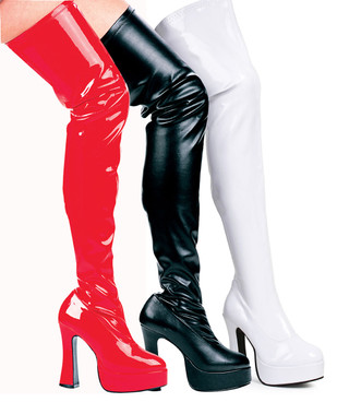 "Ellie Shoes | Thrill 5"" Chunky Heel Thigh high boots"