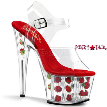 Adore-708FL * 7 Inch Stiletto Heel with Rose Fill Bottom Sandal | FunkyPair.com