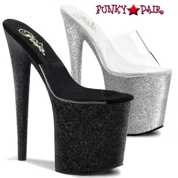 Pleaser | Flamingo-801SDG, Exotic Dancer Glitter Bottom Slide