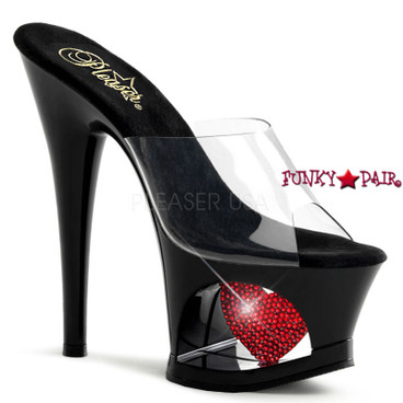 Pleaser | Moon-701HRS, Cut out Platform with Heart Slide
