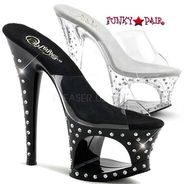 Moon-701SDT, 7 inch high heel with 2.75 inch platform with Rhinestones
