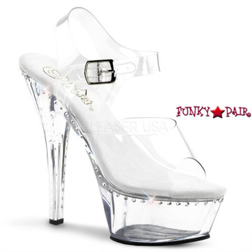 Stripper Shoes Kiss-208LS, 6 Inch high Heel with 1.75 Inch Platform Clear Ankle Strap with a line rhinestones