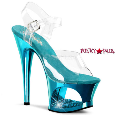 Moon-708DMCH, Turquoise Chrome Cut Out Platform Sandal