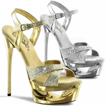 Pleaser Shoes | Eclipse-619G, Stiletto Heel Platform Glitter Sandal