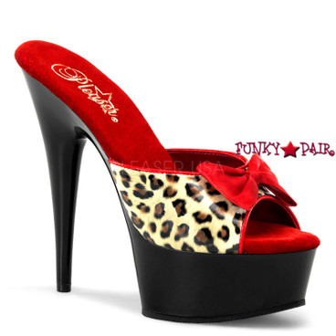 Stripper Shoes Delight-601-6, 6 Inch High Heel with 1.75 Inch Platform Leopard Print Two Tone with Bow