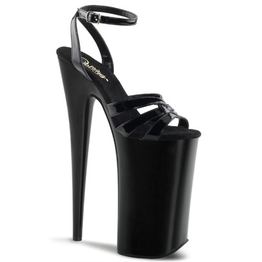 "Pleaser | Beyond-012, Black 10"" Exotic Dancer Strap Sandal"