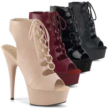 Stripper Boots Delight-600-20, Open Toe Lace Up Platform Ankle Boots