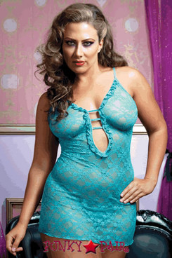 Lace chemise, plunging neckline, adjustable straps, mesh back, and thong