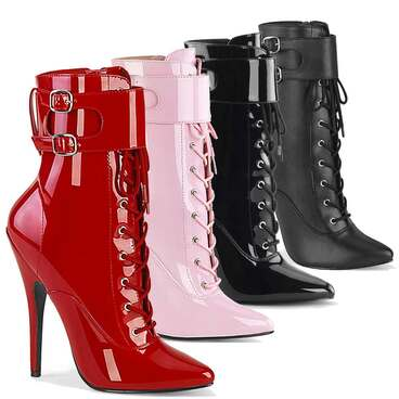 """Domina-1023, 6"""" Ankle Boots with Ankle Cuffs By Devious"""
