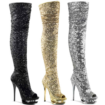 Blondie-R-3011, 6 Inch Thigh High Sequin Boots by Pleaser