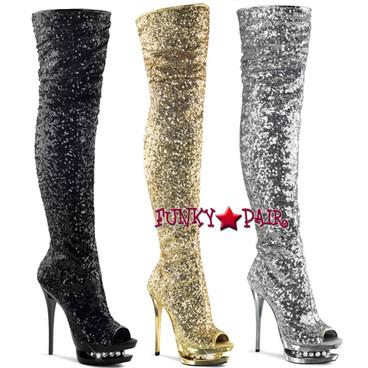 Pleaser   Blondie-R-3011, 6 Inch Thigh High Sequin Boots
